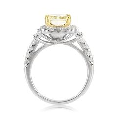 3.09ct Fancy Yellow Radiant Cut Diamond Engagement by MarkBroumand