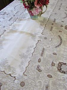 """Hand Embroidered Needle Lace Banquet Fit for A King Vintage Tablecloth 165x65""""  Vintageblessings"""