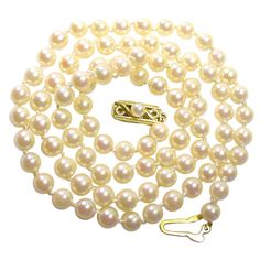 """MIKIMOTO Pearl Necklace, 6.5-6mm pearls..... This is the classic size Mikimoto salt water pearl necklace at 16 or 18"""" length."""