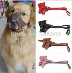 Pet Dog Leather Dog Muzzle M Size Pet Adjustable Dog Muzzle Prevent Bite Dog Mouth Mask ** Special dog product just for you. See it now! : Dog muzzle
