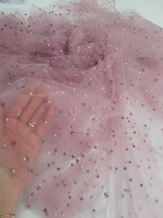Blush Pink Tulle Lace Fabric Embroidered with Colorful Pearls for Kidswear, Prom Dresses, Party Dresses, Fabric By The Yard, Party Skirt Bridal Lace Fabric, Wedding Fabric, Tulle Fabric, Pink Tulle, Tulle Lace, Festival Wear, Festival Outfits, Party Skirt, Party Dress