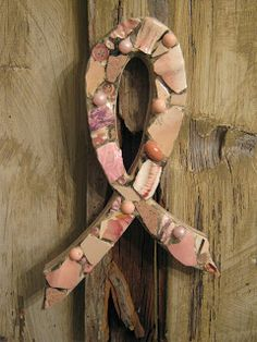 Take a page from this blog & get crafty to show your support! Mosaic breast cancer awareness ribbon