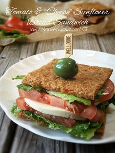"Tomato &""Cheese"" on Sunflower Bread (raw, vegan, nut-free)"