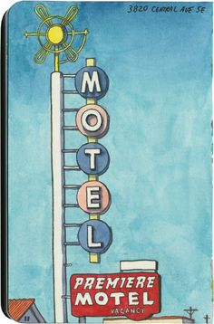 One of the many neon relics on Central Avenue (Route in Albuquerque. Sketchbook Drawings, Sketching, Travel Journals, Journal Themes, Urban Sketchers, Googie, Route 66, Sketchbooks, Illustrators
