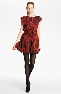 Alice + Olivia 'Corwin' Rose Print Blouson Dress available at #Nordstrom