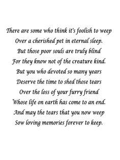 Pet Loss we all go thru this at sometime or another. Nice poem