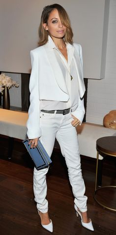 Trend Alert! Celebrities Wearing White Shoes: Nicole Richie completed her enviably chic all-white Chloé look with a pair of matching Manolo Blahnik pumps. #InStyle