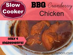 This slow cooker chicken recipe only has 4 ingredients and is so delicious!
