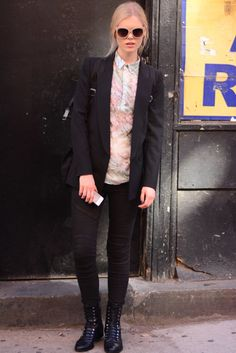 Best Street Style at NY Fashion Week Spring 2014 | Menswear chic featuring moto jeans