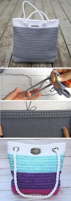 Learn to crochet a beautiful summer bag. Step by step tutorial. Learn to crochet a beautiful summer bag. Step by step tutorial.Crochet a Pretty Shoulder Bag - Design PeakFree tutorial for crochet beach, shopping or tote shoulder bag.Today we are going to Bag Crochet, Crochet Socks, Crochet Purses, Knitting Socks, Crochet Summer, Knit Socks, Fall Knitting, Crochet Baskets, Crochet Handbags