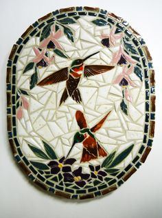 "Mosaic Wall Art Handmade Ceramic Tile  ""Humming Birds and Flowers"". $54.00, via Etsy."