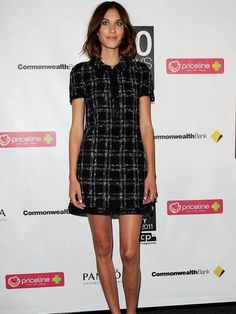 Alexa Chung wears a collared shift dress for a photocall to promote '30 Days of Fashion and Beauty' in Sydney, August 2011.