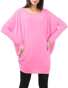Thanth Womens Long Sleeve Loose Fit Boat Neck Batwing Tunic Pullover Pink Small
