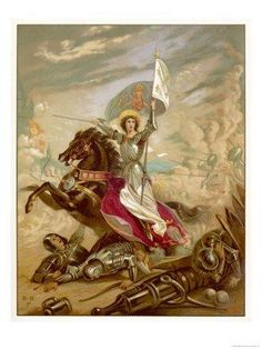 Jeanne-d-arc Joan Of Arc Joan D Arc, Saint Joan Of Arc, St Joan, Jeanne D'arc, Catholic Art, Religious Art, Roman Catholic, Warrior Queen, Illustrations