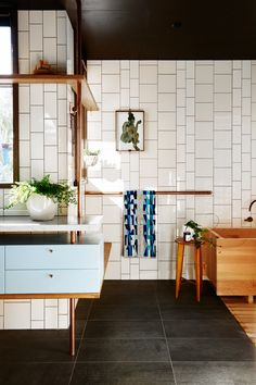 Family bathroom from sustainable home in Melbourne's inner north by Form Architecture Furniture. Photography: Nikole Ramsay | Styling: Emma O'Meara