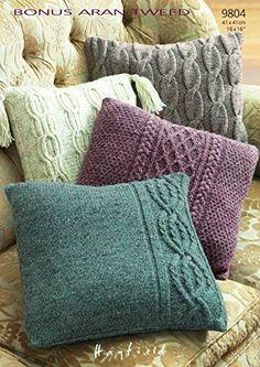 Sirdar Accessories Bonus Aran Tweed Cushions Knitting Pattern 9804