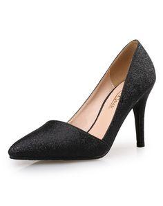 #AdoreWe #VIPme Heels & Pumps - VICONE Black Sequin Elegant Pointed Toe Wedding High Heel Pumps - AdoreWe.com