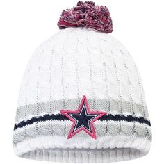 New Era Dallas Cowboys Women's White Breast Cancer Awareness Knit Hat Dallas Cowboys Crafts, Dallas Cowboys Women, Dallas Cowboys Football, Dallas Cowboys Screensavers, Cowboys Win, Cowboy Crafts, Cowboy Gear, How Bout Them Cowboys, Cowboy Outfits