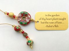 Beaded Bookmark - Rose of Love cloisonné bead - inspiring gift for book lovers by elikamahony