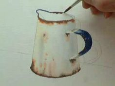 Part 1, Lessons Watercolour painting a rusty jug in 3 parts. Lessons