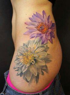 Dahlia tattoos, no outlines | Flower tattoos | Pinterest