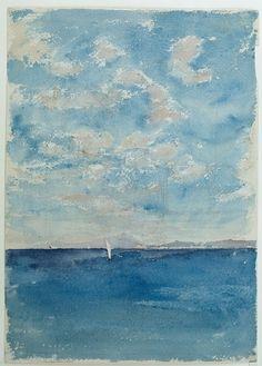 Mariano Fortuny (1838 — 1874, Spain) Sea. Vesuvius in the background. 1874 watercolor on paper. 35 x 25.3 cm. Museo del Prado.