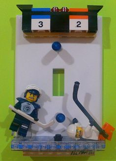 Lego hockey players light switch plate
