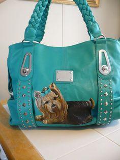 Love this handpainted yorkie handbag!!! on ebay by misspaintsalot!!