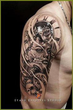 Our Website is the greatest collection of tattoos designs and artists. Find Inspirations for your next Clock Tattoo. Search for more Tattoos. Armband Tattoo Design, Clock Tattoo Design, Skull Tattoo Design, Tattoo Sleeve Designs, Skull Tattoos, Leg Tattoos, Clock Tattoos, Clock Tattoo Sleeve, Rose Tattoos