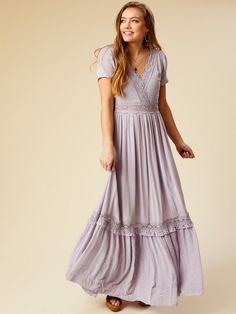 5ad66528e52 Shades of lavender, also the crochet detailing. Altar'd State Maremont Maxi  Dress