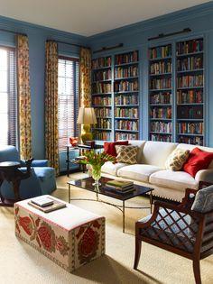 Warm & elegant library by interior designer Katie Ridder