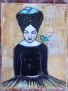 Blue Bird on My Shoulder - Kara Bullock - karabullockart.com