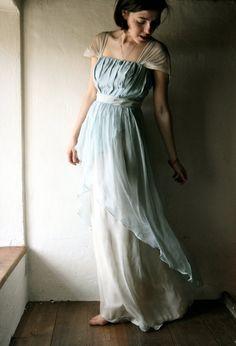 Wedding dress in light blue Naturally dyed silk chiffon - READY TO SHIP formal organic wedding gown - silk fairy dress hippie boho wedding