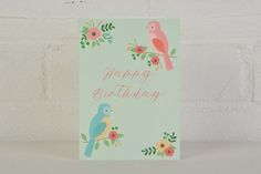 This lovely birds birthday card is perfect for female friends and family Printed on A6 card (148mm x 105mm) with white envelope included  Blank inside for your personal message