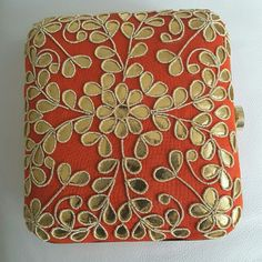 Hand embroidered box clutch Orangey red...never used.. Bags Clutches & Wristlets