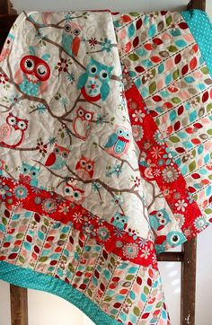 Baby Girl Quilt, Modern, Nested Owls on Branches-Coral, Aqua, Teal, Red, Pink, Adornit Fabric on Etsy, $98.00