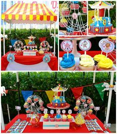 Carnival themed birthday party with So Many Cute Ideas via Kara's Party Ideas! Full of decorating tips, desserts, cakes, printables, favors,...
