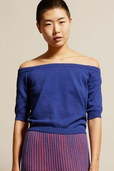 Suzanne Rae Knit Jersey Off-Shoulder Top in Blue