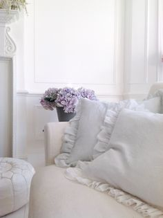 White & Faded collection pillows in the palest blue and white