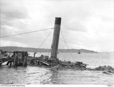 Wreck of the Australian Navy Depot Ship HMAS Kuttabul after being hit by a torpedo during the Japanese Midget Submarine attack at Sydney Harbour NSW on the night of 31st May 1942.