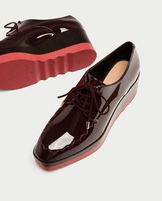 ae91969e1454b4 Image 1 of PLATFORM DERBY SHOES from Zara Navy Boots