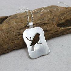 Sterling Silver Bird Necklace Birdie by SilverJewelryElena on Etsy