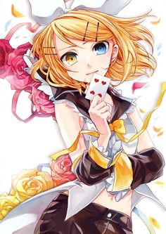 i like this pic of kagimine rin a whole lot I like how her eyes are two different colors.