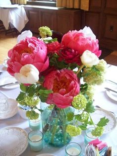 Beautiful bouquet in a blue mason jar - I would like a bit less pink and more white, purple, yellows
