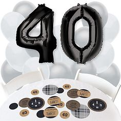 40th Milestone Birthday - Dashingly Aged to Perfection - Confetti and Balloon Birthday Party Decorations - Combo Kit | BigDotofHappiness.com