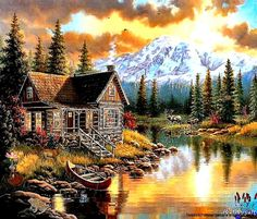 Digital Image House By The Lake Wallpaper Screen Saver Photo Picture