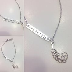 And So I Fly Hand Stamped Necklace With Charm by TellMeHowJewelry Fun Stuff, Stuff To Do, Hand Stamped Necklace, Arrow Necklace, Feather, Charmed, Chain, Jewelry, Quill