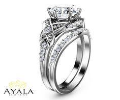 Bridal Set in 14K White Gold Diamond Engagement por AyalaDiamonds