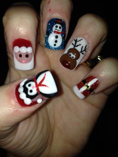 3d acrylic Christmas nails. All hand made! I'm in love with them