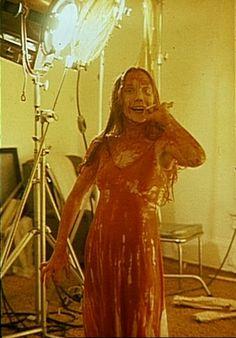 Sissy Spacek takes a smoke break on the set of CARRIE.